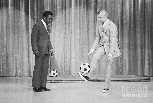 Pelé Art Print featuring the photograph Soccer Player Pele On Johnny Carsons by Bettmann