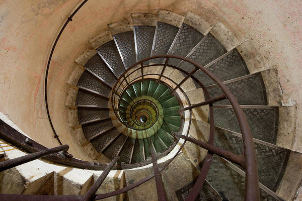 Built Structure Art Print featuring the photograph Spiral Staircase In The Arc De by Mint Images/ Art Wolfe