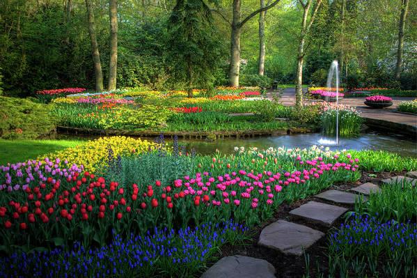 Netherlands Art Print featuring the photograph Springtime Keukenhof Gardens With by Darrell Gulin