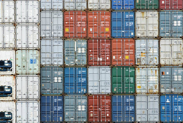 Trading Art Print featuring the photograph Stack Of Cargo Containers Full Frame by Andy Andrews