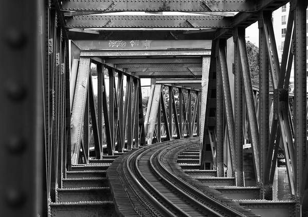 Railroad Track Art Print featuring the photograph Steel Girder Railway Bridge by Peterjseager