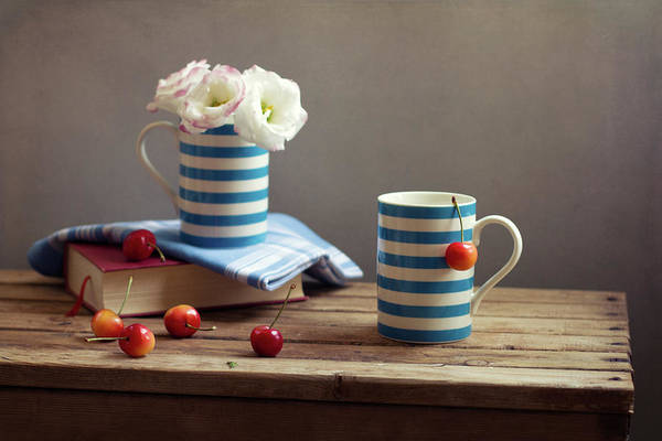 Cherry Art Print featuring the photograph Still Life With Striped Cups by Copyright Anna Nemoy(xaomena)