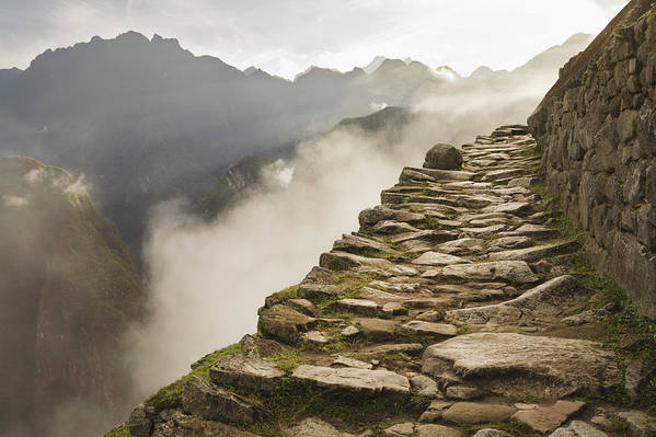 Machu Picchu Art Print featuring the photograph Stone Inca Trail by David Madison