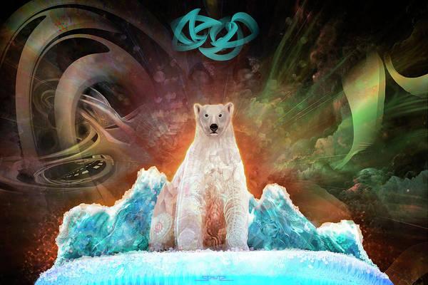 Stranded Polar Bear Art Print featuring the painting Stranded Polar Bear by Mushroom Dreams Visionary Art