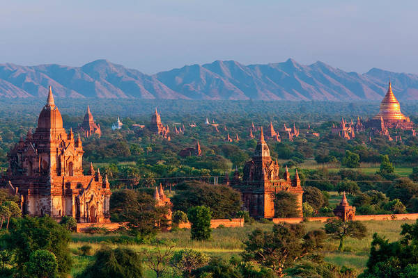 Southeast Asia Art Print featuring the photograph Stupas On The Plains Of Bagan, Myanmar by Mint Images/ Art Wolfe