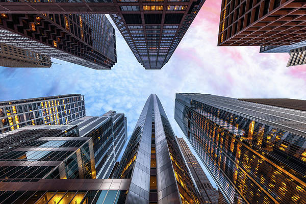 Directly Below Art Print featuring the photograph Sunrise, Looking Up, Chicago, Illinois by Joe Daniel Price