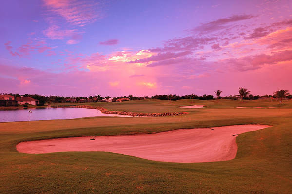 Sand Trap Art Print featuring the photograph Sunrise View Of A Resort On A Golf by Rhz