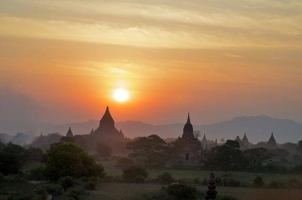 Tranquility Art Print featuring the photograph Sunset From Atop The Shwesandaw Paya by Jim Simmen