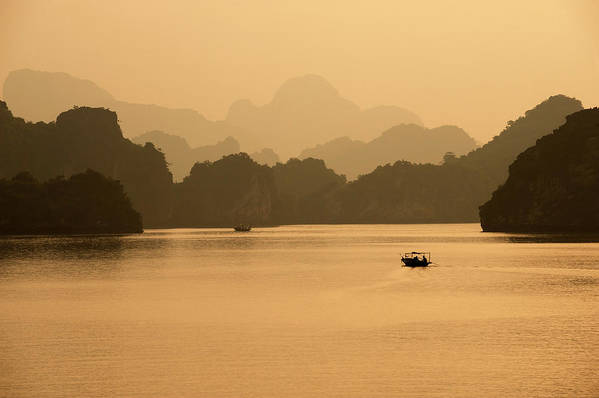 Halong Bay Art Print featuring the photograph Sunset, Halong Bay, Vietnam by Yellow Dog Productions