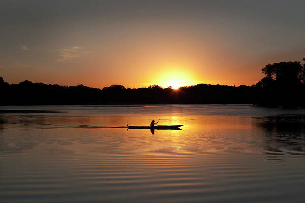 Water's Edge Art Print featuring the photograph Sunset Kayaking In Lake Of The Isles by Yinyang
