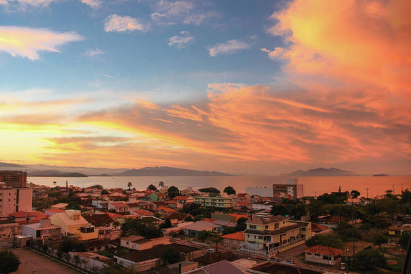 Tranquility Art Print featuring the photograph Sunset Over Florianopolis by Dircinhasw