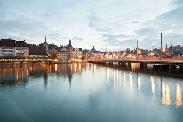 Dawn Art Print featuring the photograph Switzerland, Lucerne, View Of by Westend61