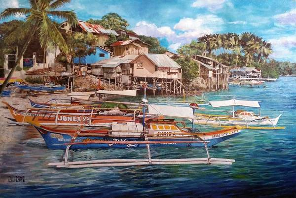 Oil On Canvas Art Print featuring the drawing Talicud by Bong Perez