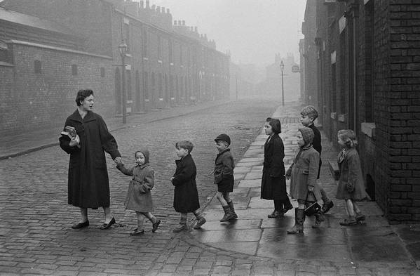 Following Art Print featuring the photograph Teacher And Pupils In Manchester by Bert Hardy