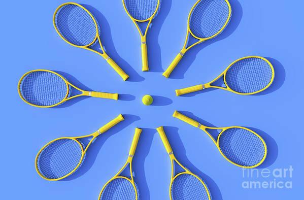 Shadow Art Print featuring the photograph Tennis Rackets On Court by Andriy Onufriyenko