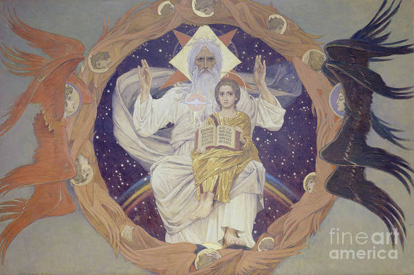 Oil Painting Art Print featuring the drawing The Holy Trinity Otechestvo, 1907 by Heritage Images