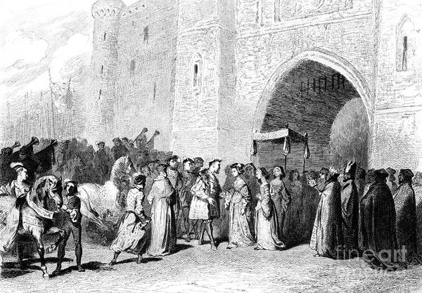 Engraving Art Print featuring the drawing The Meeting Of Henry Viii And Anne by Print Collector