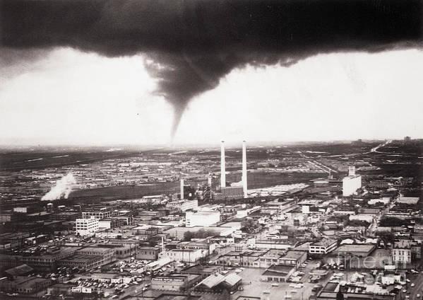 Industrial District Art Print featuring the photograph Tornado Moving Through Dallas by Bettmann