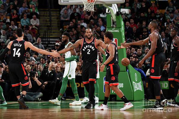 Nba Pro Basketball Art Print featuring the photograph Toronto Raptors V Boston Celtics by Brian Babineau