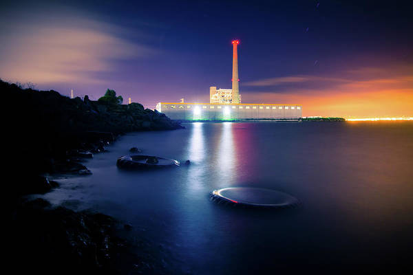 Industrial District Art Print featuring the photograph Toxic Beach With Power Plant by Hal Bergman