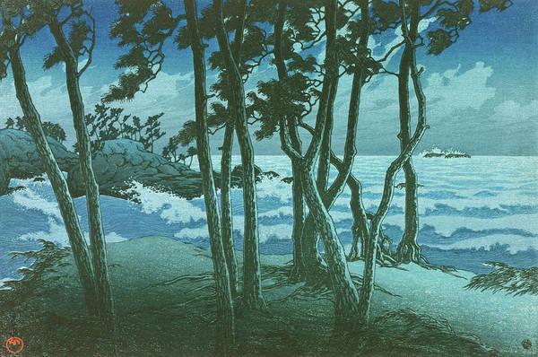 Kawase Hasui Art Print featuring the painting Travel souvenir third collection, Izumo, Hinomisaki - Digital Remastered Edition by Kawase Hasui
