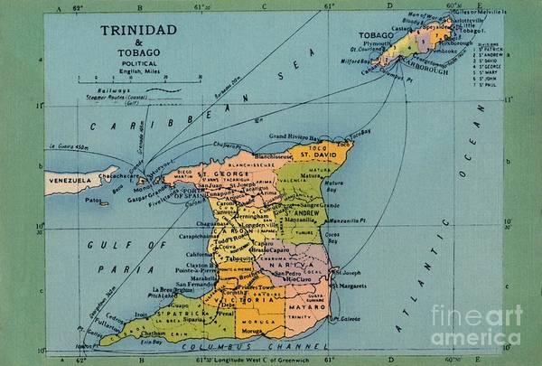 Trinidad And Tobago Art Print featuring the drawing Trinidad & Tobago Map by Print Collector
