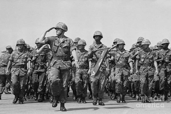 Marching Art Print featuring the photograph U.s. Marines Marching In Review by Bettmann