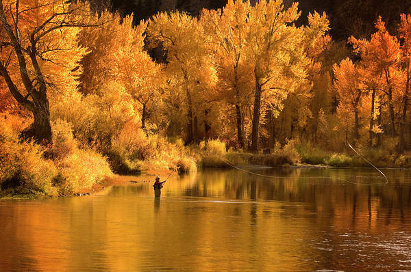 Orange Color Art Print featuring the photograph Usa, Idaho, Salmon River, Mature Man by Steve Bly