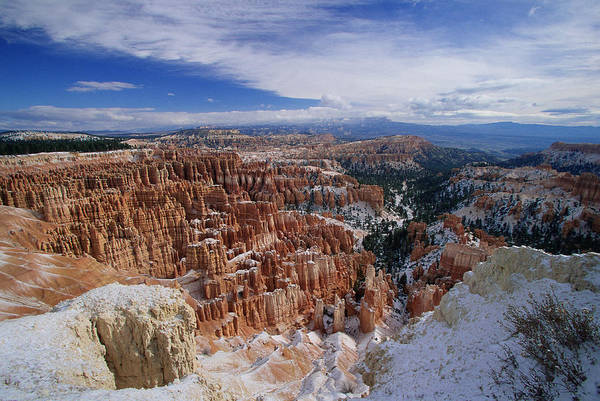 Snow Art Print featuring the photograph Usa, Utah, Winter Bryce Canyon by Stan Osolinski