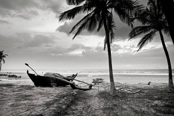 Tranquility Art Print featuring the photograph Uttorda Beach , Goa, India Fishing Boat by Anoop Negi