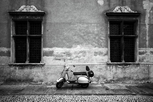 Two Objects Art Print featuring the photograph Vespa Piaggio. Black And White by Claudio.arnese