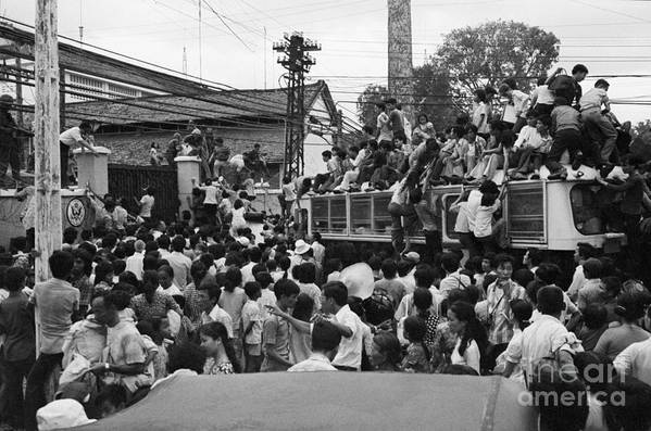 Ho Chi Minh City Art Print featuring the photograph Vietnamese Civilians Crowding In Front by Bettmann