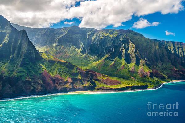 Mountains Art Print featuring the photograph View On Napali Coast On Kauai Island by Alexander Demyanenko