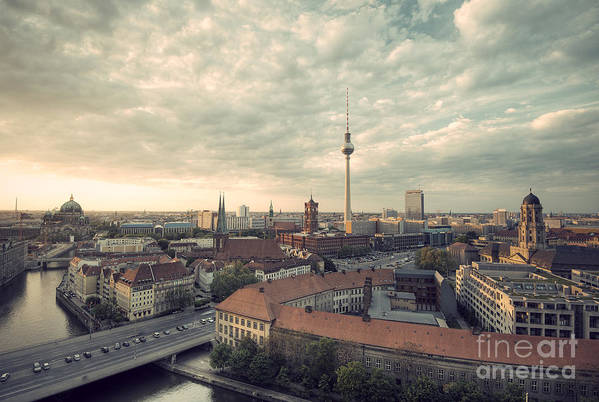 Alexanderplatz Art Print featuring the photograph View Over Berlin Mitte At Evening by Ar Pictures