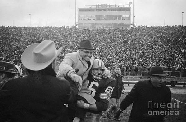 Playoffs Art Print featuring the photograph Vince Lombardi Celebrating Nfl Title by Bettmann