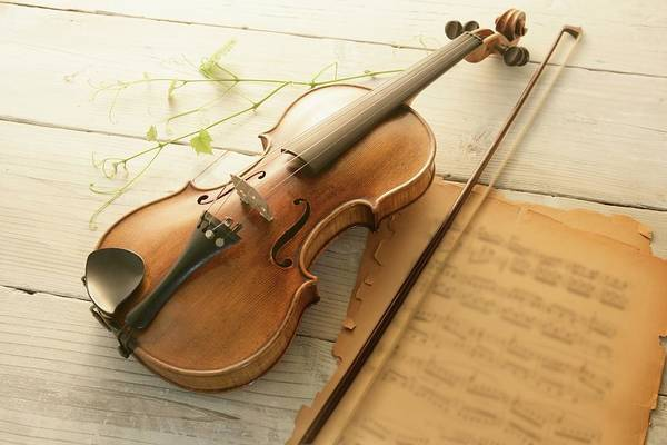 Sheet Music Art Print featuring the photograph Violin And Music Sheet by Image Work/amanaimagesrf