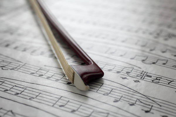 Sheet Music Art Print featuring the photograph Violin Bow On Music Sheet by Daniel Allan