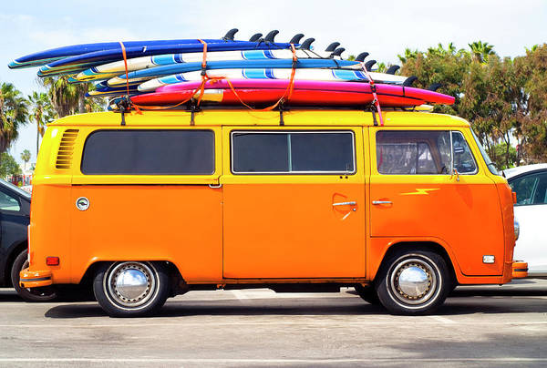 Youth Culture Art Print featuring the photograph Volkswagen Bus With Surf Boards by Pete Starman