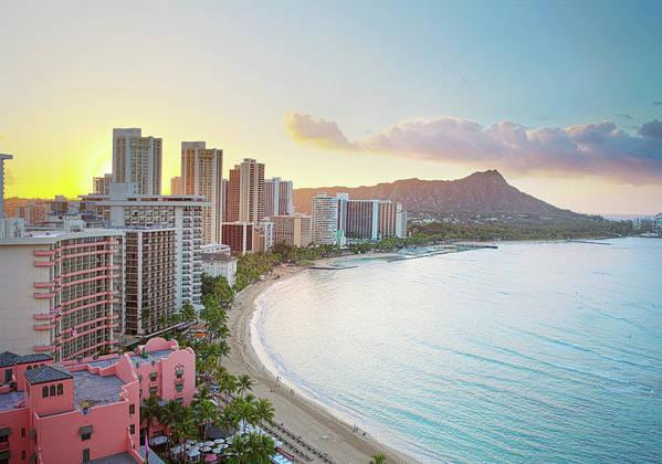 Scenics Art Print featuring the photograph Waikiki Beach At Sunrise by M Swiet Productions