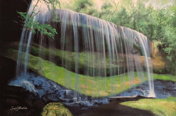 Waterfall Art Print featuring the painting Waterfall by Said Marie