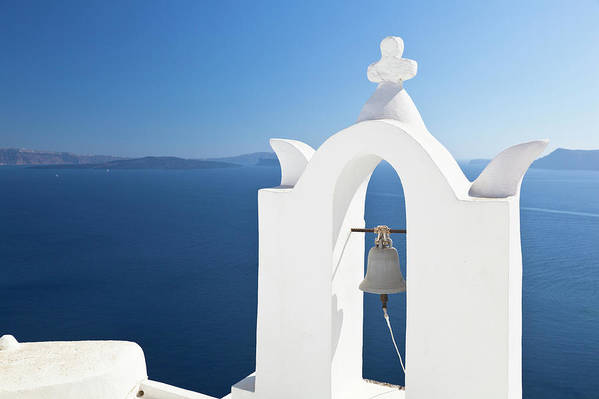 Greek Culture Art Print featuring the photograph White Bell Tower And Blue Sea by Michaelutech