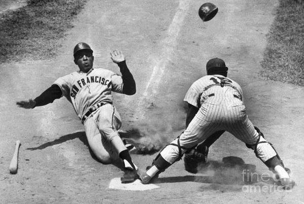 Headwear Art Print featuring the photograph Willie Mays Sliding Into Home Plate by Bettmann