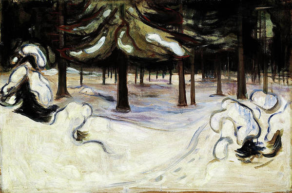 Winter In The Woods Art Print featuring the painting Winter In The Woods, Nordstrand - Digital Remastered Edition by Edvard Munch