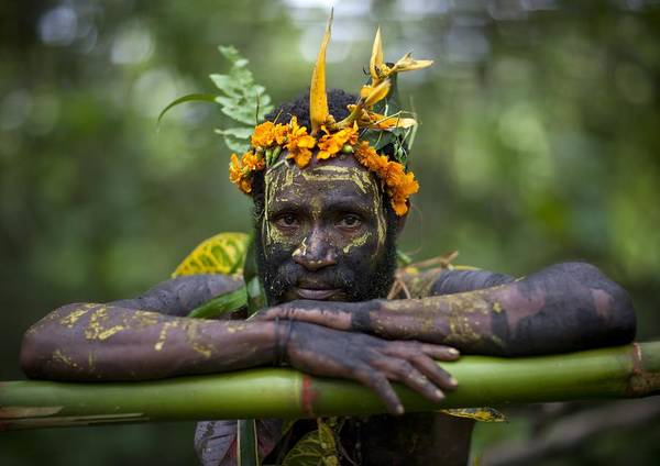 Thank You Art Print featuring the photograph Witchdoctor In Ulul Village In New by Eric Lafforgue