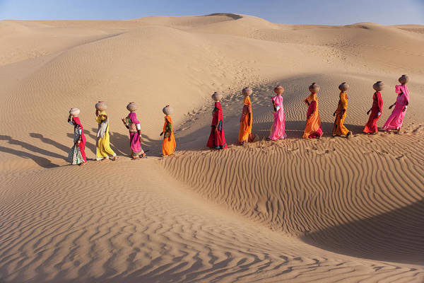 People Art Print featuring the photograph Women Fetching Water From The Sparse by Mint Images - Art Wolfe