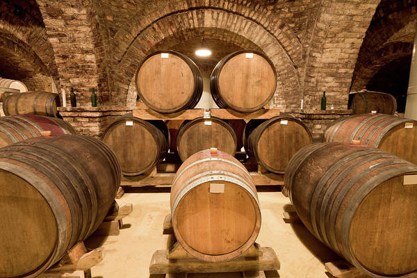 Arch Art Print featuring the photograph Wooden Barrels In Wine Cellar by Benedek