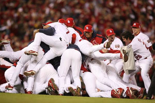 Following Art Print featuring the photograph World Series Game 5 St. Louis Cardinals by Rich Pilling