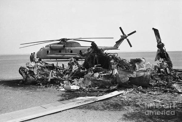 1980-1989 Art Print featuring the photograph Wreckage Of American Helicopters by Bettmann