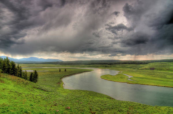 Scenics Art Print featuring the photograph Yellowstone River In Hayden Valley by Kevin A Scherer