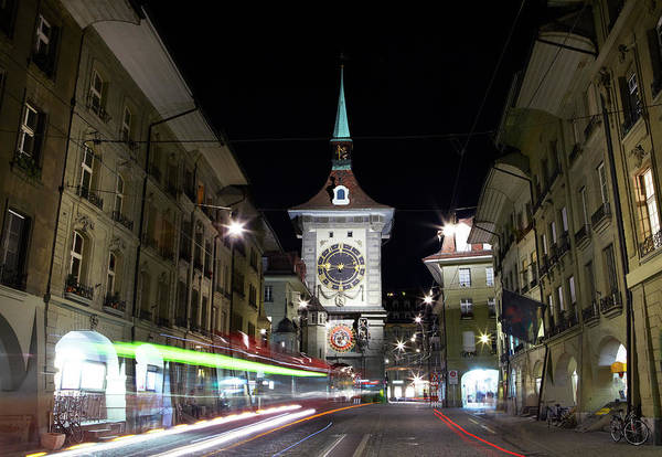 Clock Tower Art Print featuring the photograph Zytglogge Tower At Night by Allan Baxter